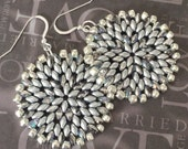 Silver Satin Seed Bead Disc Earrings - Big Bold Disc Earrings - Beadwork Jewelry - Statement Jewelry