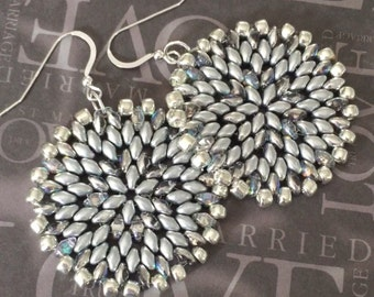 Silver Satin Seed Bead Disc Earrings - Big Bold Disc Earrings - Beadwork Jewelry - Statement Jewelry