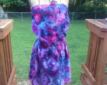 Size small tie dyed strapless mini dress blue purple pink upcycled old navy deess