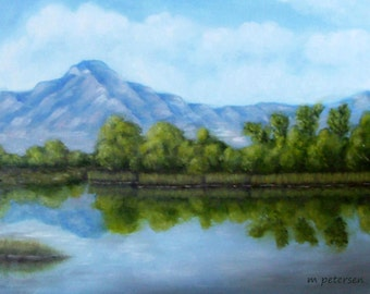 Original 11 x 14 Inch Oil Painting on Canvas Lovely Blue Sky Mountain Lake Reflective Landscape of the Western United States Utah