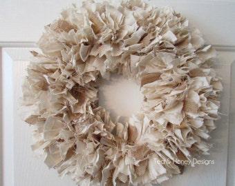 "Burlap and Muslin Rag Wreath Rustic Decor Round 16"""