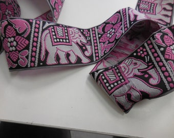 "Elephants Ethnic Design Jacquard Ribbon Sewing Trim 2Y 1.5""  Dog Collars Clothing DIY Purse sewing Trim"