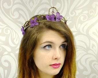 Dark Purple Flower Crown, Bohemian Headband, Floral Wreath, Flower Headpiece, Purple Woodland Crown, Elven Crown, Fairy, Cosplay, Mori Kei
