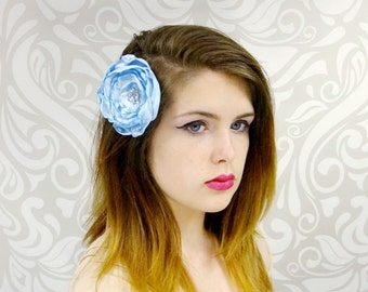 ON SALE, Flower Hair Clip, Baby BlueFlower Hair Clip, Sky Blue Flower, Satin Flower Fascinator, Bridal Flower Clip, Ready to Ship