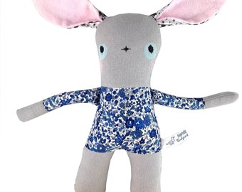 Grey Linen Bunny Rabbit Soft Toy - Liberty of London -  New Baby Gift - Blue Floral