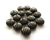 Opaque Jet Black Striped Lentil Coin Bead with Golden Inlay, 12mm - 15 pieces