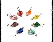 Snag Free Stitch Markers Extra Small Set of 8-- Rainbow Faceted Czech Glass -- J81 -- For up to size US 4 (3.5mm) Knitting Needles