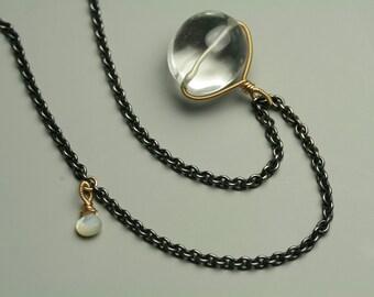Rock Crystal Quartz Long Layering Necklace. Charm Necklace. Mixed Metals.