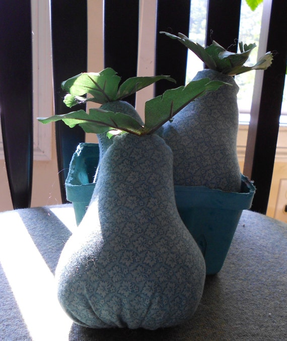 Using Filler In Fluff In Home Decor Making Arrangements: Primitive Pears Fruit Handmade Fabric