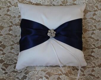 White or Cream Ring Bearer Pillow with Navy Satin Ribbon- Rhinestone Embellishment-Custom Ribbon Colors