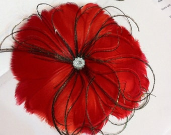 RED feather with green ostrich feather wisps and crystal cabochon Fascinator Alligator Clip
