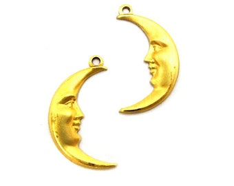 Brass Crescent Moon Face Charms - Mirrored (6X) (M653-A)