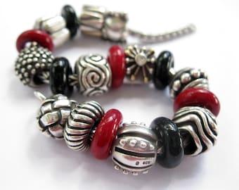 Large Hole Garnet and Black Lampwork Bracelet Beads SRA