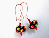 Copper Earrings, Midnight at the Carnival, Colorful Lampwork Glass and Crystal Earrings, FREE Shipping U.S.