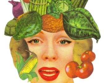 Veggie Art, OOAK Mixed Media Artwork, Vegetable Wall Art, Vegetarian Artwork, Original Vegan Art, Eat Your Veggies, Surreal Collage