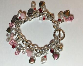 Pink Crystal Charm Bracelet