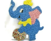 Vintage Plastic Blue Elephant Wall Decoration | Melted Plastic Child's Room Decor