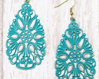 Turquoise Hand Painted Brass Earrings Boho Jewelry Large Earrings Lightweight Earrings Turquoise Earrings Statement Earrings
