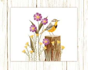 Eastern Meadowlark Print -- bird art -- bird art 52 birds stephanie fizer coleman illustration yellow violet