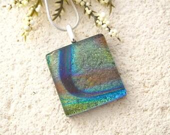 Petite Green Purple Necklace, Dichroic Glass Jewelry, Fused Glass Jewelry, Silver Necklace, Earth Tone Necklace, Petite Necklace 051815p102