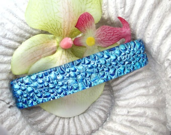 Med/Lge French Barrette, Dichroic Glass Barrette, Hair Barrette, Silver Blue  Barrette, French Barrette, Fused Glass Barrette, 032017ba100