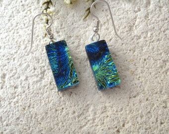 Petite Dichroic Glass Earrings, Dichroic Earrings, Dangle Drop Earrings, Blue Green Earrings, Fused Glass Jewelry, Sterlinhg 062515e104