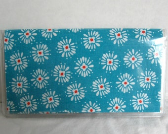 Checkbook Cover Turquoise Red Floral  -  Cash Holder - Works with Duplicate Checks - Turquoise Checkbook Holder - Turquoise with Red