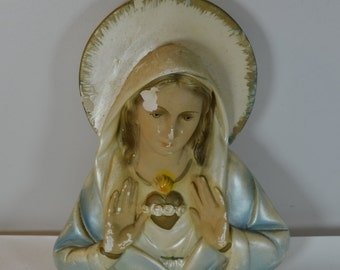 vintage Virgin Mary Madonna chalkware wall plaque hanging chippy catholic christianity
