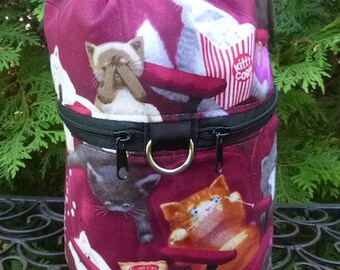 Cat Knitting bag, drawstring bag, knitting in public bag, small project bag, Scaredy Cat, Kipster