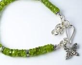 Peridot Birthstone Silver Stacking Bracelet, August Birthstone Charm Bracelet, Peridot Gemstone Sterling Silver Bracelet