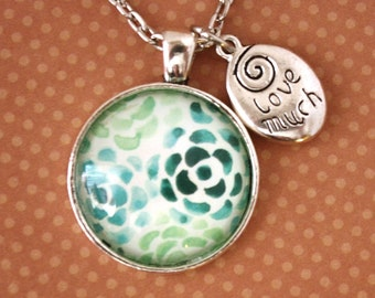 Pendant Necklace - Green Floral - Love Much - Laugh Often