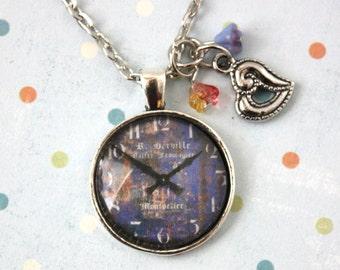 Pendant Necklace - Blue Clock Face