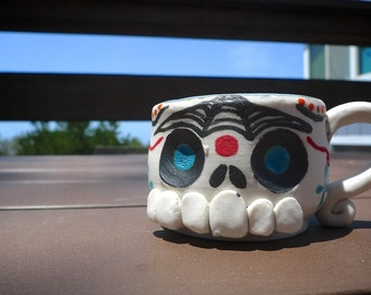 Hand thrown MINI porcelain Sugar Skull mug