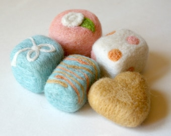 Felted Wool Play Food: Set of 5 Petit Fours (Tea Party Cakes for Pretend Play)