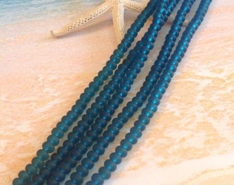 4x3mm sea glass beads-teal beach glass rondelles-cultured sea glass-drilled glass-tumbled recycled glass-supplies-beading supply-glass-bead