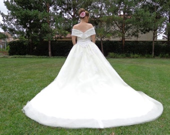 Vintage 1990s Wedding Gown Off the Shoulder SALE