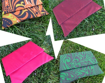 Salvaged Silk or Polynesian Cotton Clutch or Wristlet Purses