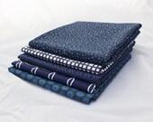 Navy - 5 Fat Quarters - Quilting Fabric Bundle