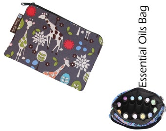 Essential Oil Bag - Essential Oil Pouch - Oil Bags - Waterproof lining fabric - Giraffes Can Dance Fabric