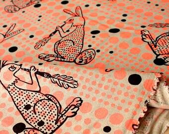 Japanese Fabric Kokka Ranrara rabbit - neon orange - fat quarter
