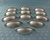 Set of 12 New Brushed Satin Nickel Cabinet Drawer Door Knob Cup Bin Pulls Handles