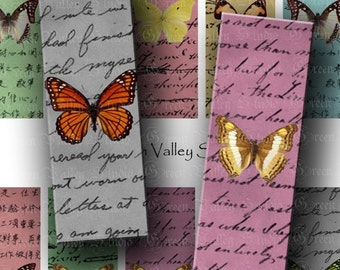 INSTANT DOWNLOAD Digital Images Collage Sheet Beautiful Butterflies Handwriting Background Microscope Slides 1 x 3 Inch for Pendants (M15)