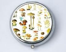 Mushrooms Pill Case pillbox pill holder botanical fungi