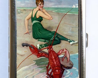The Lobster Serenade Cigarette Case Wallet Business Card Holder retro pinup pin up