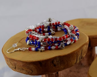 Americana red white and blue patriotic stretchy seed bead bracelets with free bonus earrings available in five sizes