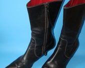 VINTAGE black leather COACH brand ladies zip up BOOTS