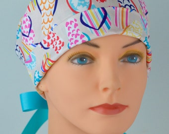 Surgical Scrub Hat or Chemo Cap- The Mini with Ribbon Ties- Flip Flops