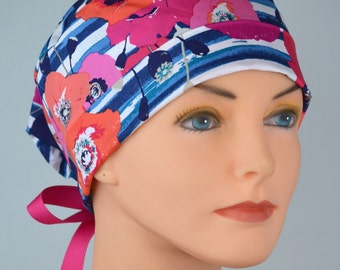 Surgical Scrub Hat or Chemo Cap- The Mini with Ribbon Ties-Poppies