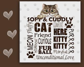 CAT SPOON REST - Cat Tile - Cat Trivet - Cat Sign, Cat lover - Persian Tabby Cat