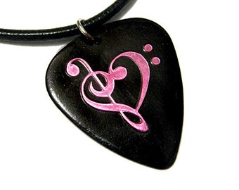 black & pink music heart guitar pick necklace, hot foil stamped